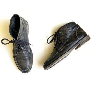 Bed Stu Black Pebble Leather Round Toe Boots